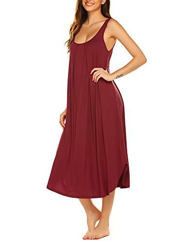 Ekouaer Sleeveless Nightgown Women Long Tank Sleepwear Vest Sleepshirt Wine L
