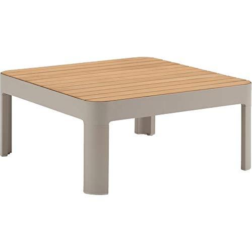 Meubletmoi 4683 - Tavolino da giardino quadrato in alluminio, colore: Beige e Teck