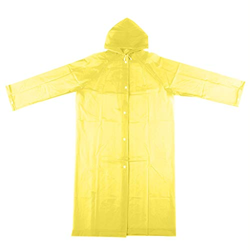 Clement Attlee EVA Fashion Jelly Gel Unisex Adult Non-Disposable Long Raincoat Poncho Reusable Yellow
