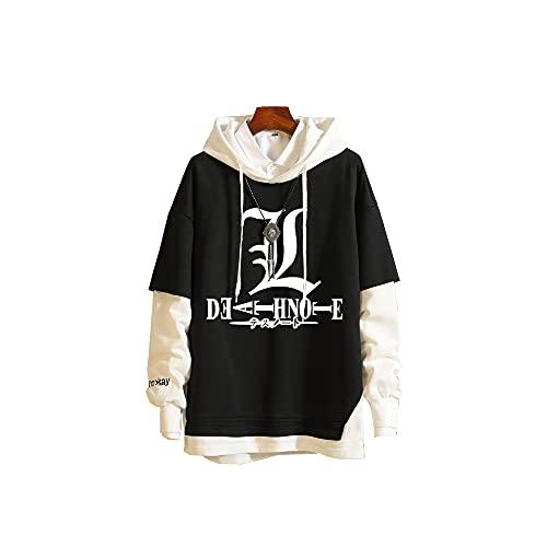 JPTYJ Death Note Sudadera con Capucha de Anime para Hombre, suéter de Manga Larga con Costura a la Moda-XL