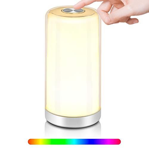 Dpower Lampada da Comodino,Luce Notturna RGB Bambini LED Colorata Colori Cangianti Luce Bianca Calda Dimmerabile Funzione di Memoria Multicolore Portatile Controllo Tattile Moderne USB Ricaricabile