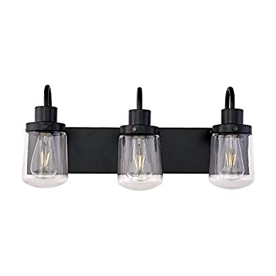 YAOHONG Industrial Wall Sconce 3-Lights Modern Vanity/Bathroom Lamp in Black with Clear Glass Shades Wall Mount Light Fixtures for Hallway Kitchen Living Room