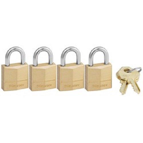 Master Lock Padlock, Solid Brass Lock, 3/4 in. Wide, 120Q (Pack of 4-Keyed Alike)