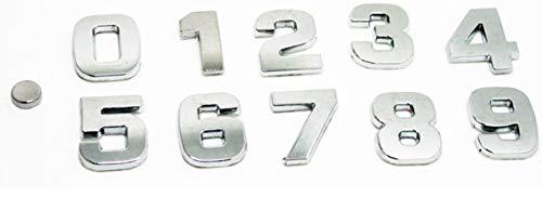 Fully 1 X 2.5CM/0.98' DIY 3D Metall Aufkleber Emblem Buchstaben Nummer Zeichen Selbstklebenden für Auto Laptop Motorrad (Silber, 7)
