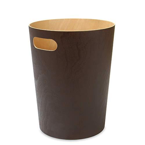Papierkorb aus Holz | Büro & Schlafzimmer Papierkörbe |Papierkorb Für Unter Schreibtisch | Wohnzimmer Mülleimer | M&W (Braun)