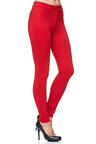 Elara Pantalón Elástico de Mujer Skinny Fit Jegging Chunkyrayan Rojo H21 Red 38 (M)