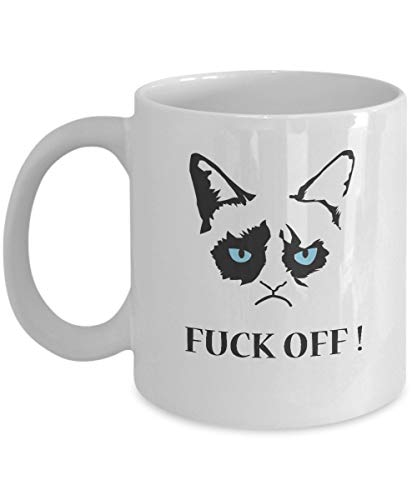 jingqi Grumpy Cat Coffee Mug - Ceramic White Mug Tea Mug Coffee Cup with Grumpy Cat - Fuck Off ! - Grumpy Cat Merchandise-Grumpy Cat No Mug-Grumpy Cat Mug-Grumpy cat Gifts