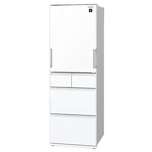 シャープSHARPプラズマクラスター冷蔵庫どっちもドア(両開き・ガラスタイプ)幅60.0cmスリムタイプ412L5ドアホワイトSJ-GW41F-W