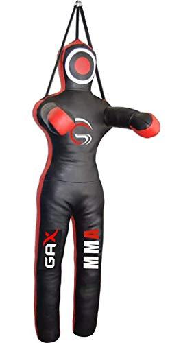 GAX MMA Judo Punching Bag - BJJ Muay Thai Kicking | Boxing | Wrestling | Hanging Target Bag, Martial Arts and Fitness Training, Unfilled - Black(6 Feet (180 cms))