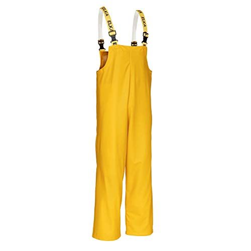 Elka Rainwear-PU/PVC-Latzhose-Regenhose-309900-gelb-wasserdicht-EN 343-elastische Hosenträger Größe 5XL