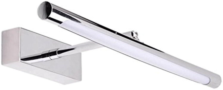 TXXM Teleskop führte Spiegelleuchte Badezimmer modernen minimalistischen Edelstahl wasserdichte Nebel Anti-Fog Badezimmer Schrank Spiegel Wandleuchte (gre   L45cm 6W)