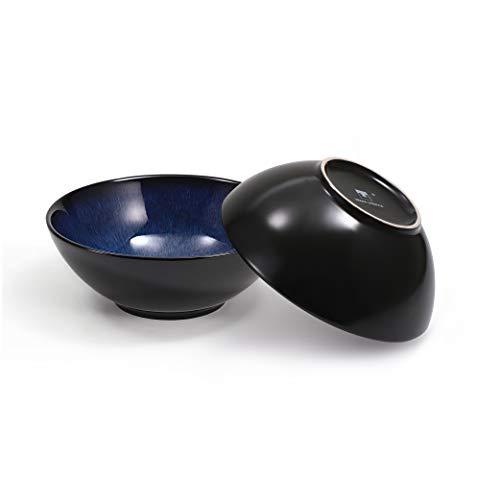 Urban Lifestyle, 2 ciotole in ceramica da 20 cm con smalto nero e blu, da A a B. Sono possibili piccoli difetti di smalto.