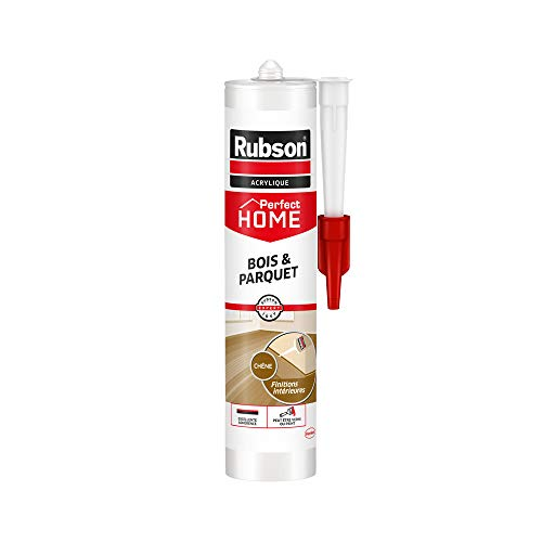 Rubson Perfect Home Mastic Bois & Parquet couleur chêne, Mastic acrylique pour tous supports bois et maçonnerie, Joints pour intérieur et extérieur, 280 ml