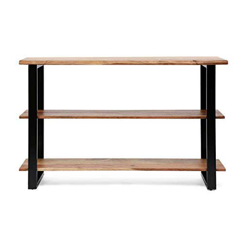 Christopher Knight Home Sidney Handcrafted Modern Industrial Acacia Wood Media Console Table, Black + Natural