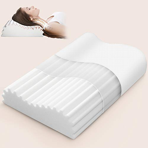 Swilow Memory Foam Pillow for Side Sleeper, Cervical Contour Pillow for Neck Pain, Orthopedic Neck Support Pillow Chiropractic Ergonomic Pillow Sleeping with Free Pillowcase (Firm, Standard Size)