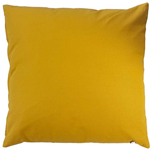 Enjoy Home - Cojín desenfundable, 60 x 60 cm, 100% algodón, color mostaza