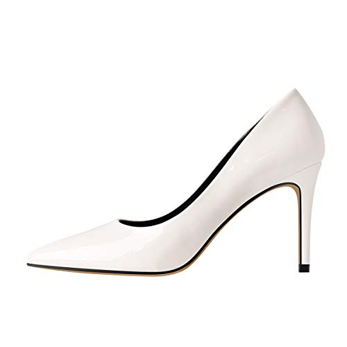 MissHeel Frauen High Heels Klassische Pumps Spitz Stiletto Damenschuhe Elegant Lack Weiß 38 EU