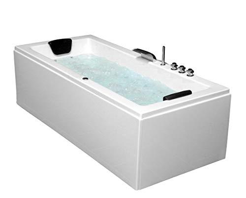 Whirlpool Badewanne Venedig MADE IN GERMANY rechts oder links 180 x 80 / 190 x 90 oder 200 x 90 cm mit 6 Massage Düsen + MIT Armaturen Eckwanne Spa runde rechte / linke Eckbadewanne innen günstig