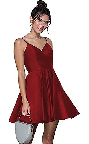 TiJiang Vestido corto de satén sin mangas con cuello en V para mujer, vestido de cóctel con bolsillos, rojo vino, 40