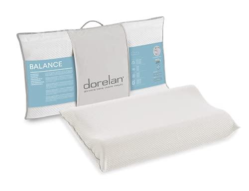 Dorelan Cuscino Balance (40x68, 9,5-11,5 cm) in Myform Memory Air, elevata traspirabilità e freschezza, sagomatura ortocervicale, sostegno soft