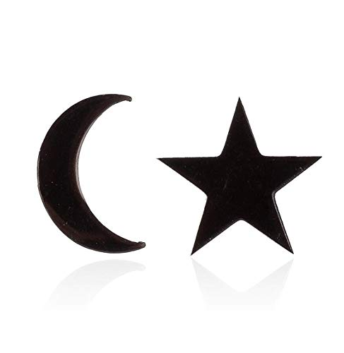 Tiny Moon Star Stud Earrings for Women Men Stainless Steel Asymmetry Minimalism 85mm Black Silver(Black)