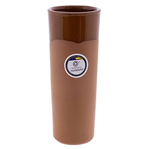 CERÁMICA RAMBLEÑA | Vaso de cerveza | Vaso de tubo barro rojo - Modelo 01 | Jarras de cerveza en barro rojo | Vasos de agua | 300 ml