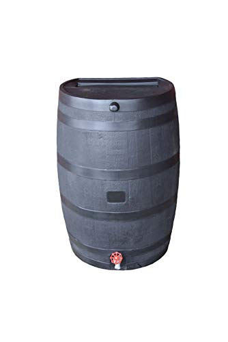 RTS Companies Inc Home Accents 50-Gallon ECO Rain Water Collection Barrel Made with 100% Recycled Plastic Spigot, Black