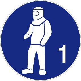 Gebotsschild aus Aluminium - Vollschutzanzug tragen - Ø 40 cm