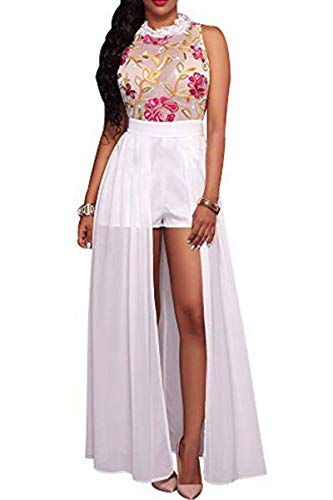 Women's Halter Neck Back Zip Sexy Floral Embroidered Lace See Through Shorts Jumpsuit Dress Clubwear Sleeveless Romper Long Maxi Dresses Shorts, White, Large