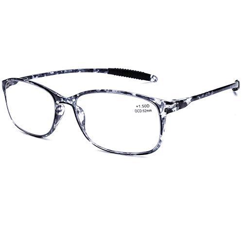 DOOViC Blaulichtfilter Computer Lesebrille Grau Schildkröte/Eckig Rahmen Leichte Brille/Lesehilfe/Sehhilfe mit Stärke für Herren 2,0