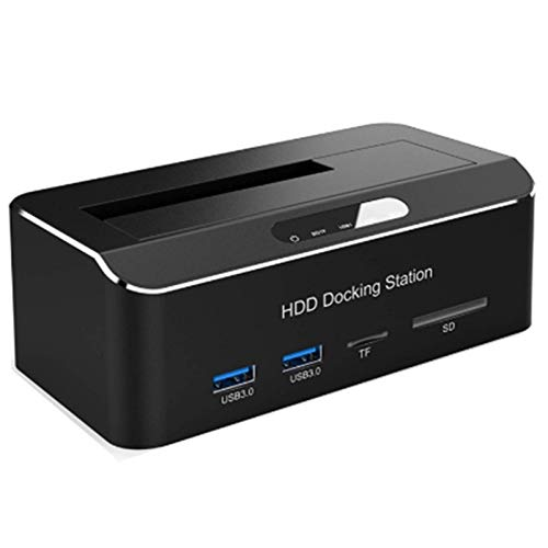 CGGA Estación de Acoplamiento de Disco Duro Externo USB 3.0 a SATA con hub y Lector de Tarjetas de 2 Puertos para 3,5 Pulgadas HDD SSD UE Plug (Color : Black)