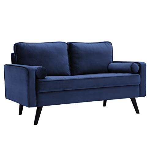 VASAGLE Sofa, Couch for Living Room, Smooth Velvet Surface, for Apartment, Small Space, Solid Wood Frame Legs, Easy Assembly, Modern Design, 57.5 x 32.3 x 33.1 Inches, Blue ULCS051Q01