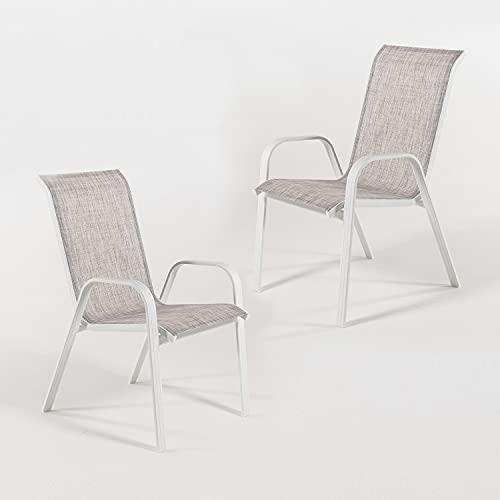 Edenjardi Pack 2 sillones de terraza apilable, Tamaño: 57x74x96,5 cm, Aluminio Reforzado Color Blanco y textilene taupé Jaspeado