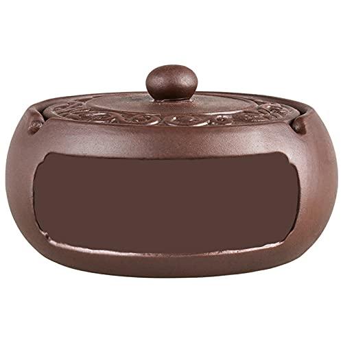 QQYYY Portátil, de cerámica, con Tapa, cenicero de Estilo Chino, cenicero a Prueba de Viento para Uso en Interiores y Exteriores, cenicero Vintage para el hogar, a Prueba de Viento a Prueba de Lluvia