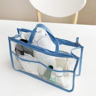 Sac de Rangement à Double Sac à Fermeture à glissière cosmétique Sac de Stockage de Porte-Monnaie Voyage Sac de Maquillage Transparent (Color : Blue)