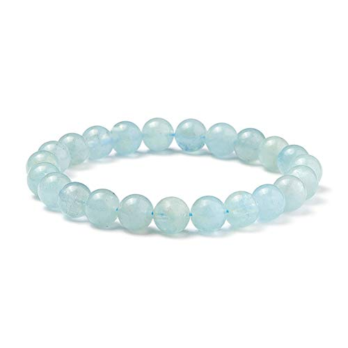 SUNNYCLUE Natural genuino gemas océano azul aguamarina pulsera elástico 8 mm Ronda Perlas de aproximadamente 7 -unisex
