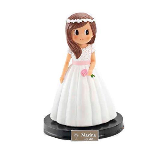 Figura para tarta de comunión para niña con plaquita PERSONALIZADA con nombre y fecha