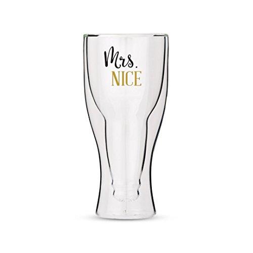 Weddingstar Verre à bière à Double paroi avec Mrs Nice Motif