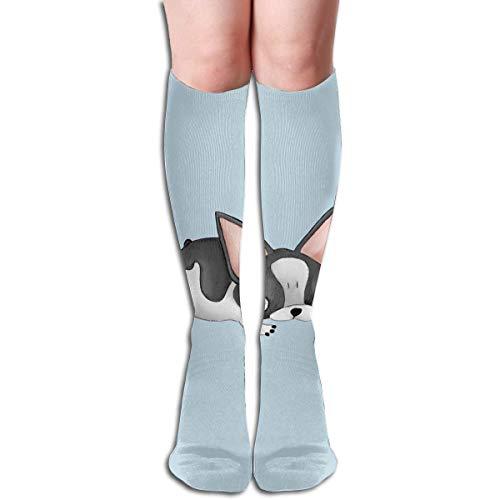 Cute Bulldog Design Elastic Blend Long Socks Compression Knee High Socks (50cm)...