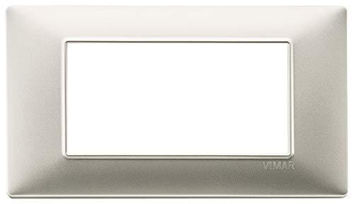 VIMAR 14654.21 Plana Placca 4 Moduli in tecnopolimero, Nichel Opaco