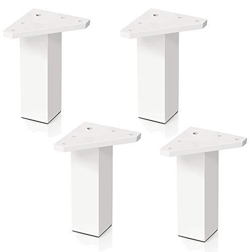 4 un. Pata pie cuadrada para Mueble en resina plastica abs ANTICORROSION 40x40mm altura 120mm blanco con Tapón contera