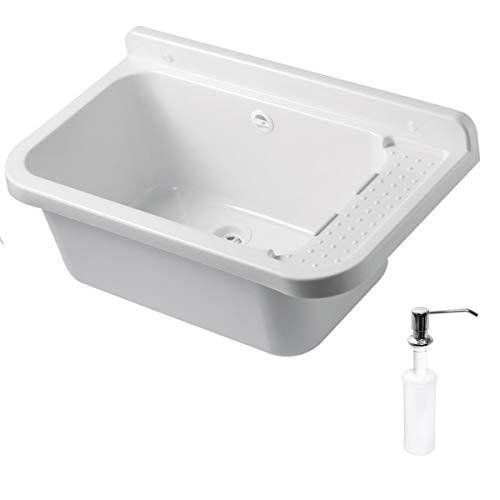 VBChome Ausgussbecken mit Seifenspender 60 x 35 x 21 cm Spülbecken Waschtrog mit Überlauf Waschbecken für Gewerbe Waschraum Garten inkl. Ablaufgranitur