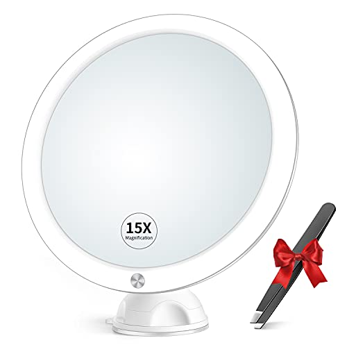 15X Magnifying Mirror with Light & Tweezers - Lighted Magnification...