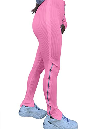 CXINS Women's Solid Color Tight Ribbed Zipper High Waist Casual Split Micro Flared Track Skinny Long Pants Pink