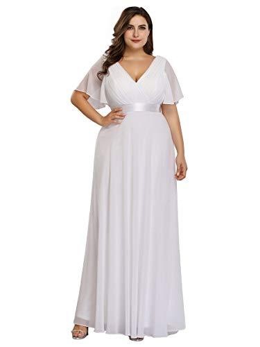 Ever-Pretty Damen Abendkleid A-Linie Lange Abschlusskleid V Ausschnitt Kurze Ärmel Hohe Taille Weiß 52
