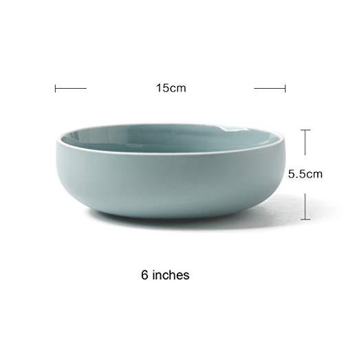 CJW Vaisselle en céramique ronde bleu clair - riz simple/nouilles/soupe/plat/set macaron