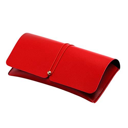 lubier 1pcs Lunettes cas étui souple de soleil en cuir Lunettes de Vue cas boîte de protection pour les femmes et les hommes 17.7 * 8 * 3cm rouge