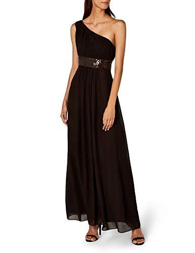 Astrapahl Damen Kleid One Shoulder mit Pailletten, Maxi, Einfarbig, Gr. 44, Braun