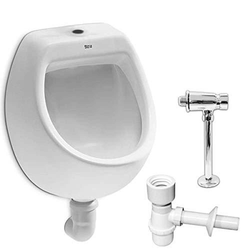 VBChome Urinal Zulauf Oben + Spülventil + Siphon + Urinalsieb Weiß Modern Hochwertig Keramik Pinkelbecken senkrecht Pissoir Mini + Urinalspüler Druckspüler + Flaschensiphon
