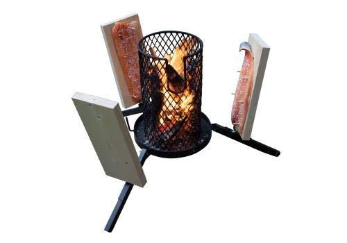 Mustang Flammlachs Grill | Feuerkorb | Flammlachsgrill | 3X Flammlachsbretter + 20 Holzstifte | Finnland